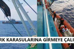 Sınırı geçen Rum balıkçı teknesi engellendi