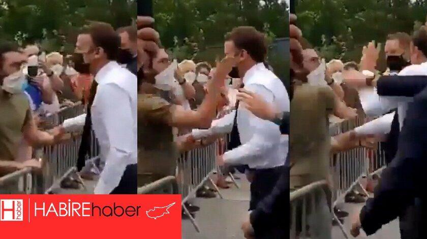 Fransa Cumhurbaşkanı Macron'u vatandaş  tokatladı